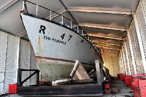 The Rescue Motor Launch (RML) 497 under the cover of the new shelter built outside the National Museum of the Royal Navy in Hartlepool.