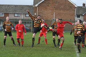 Stag & Monkey o40s (yellow/black) v  Newcastle East End o40s (red) at Manor College, Hartlepool on Saturday.