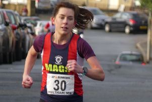 Mags Beever, 2nd Lady at Meltham Tough 10K (photo Philip Bland)