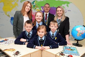 Bernadette Nesbit, Executive Headteacher, Joe O'Connor, School Manager, Stacey Hudd, Assistant Head, Director of teaching and Learning, pictured with school council members Finley, Weronika, Gabriela and Ashley, as the school celebrates a good Ofsted report.  Picture: NDFP-29-01-19-FancisXavierOfsted-2
