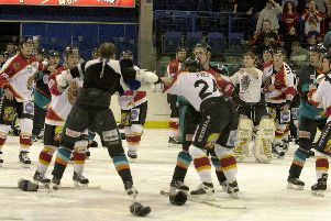 Fighting on ice between Nottingham Panthers and Sheffield Steelers on February 9, 2001