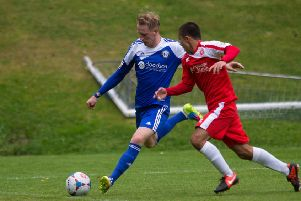 Scott Boden pictured when in action for FC Halifax Town against Welling at the Shay.