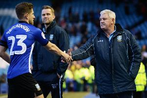 Sheffield Wednesday manager Steve Bruce with Sam Hutchinson