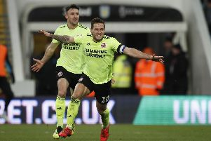 Billy Sharp celebrates his hat-trick goal, which put Sheffield United 3-0 up: Simon Bellis/Sportimage