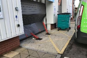 A vehicle was driven into the shutters outside Screwfix in Hillsborough in a ram raid (Andy Granger)