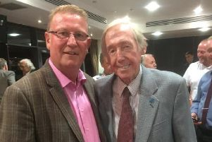A pair of former Spireite stoppers - two-time promotion winner Chris Marples with England legend Gordon Banks