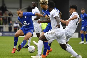 Chesterfield's Curtis Weston wins a tackle: Picture by Steve Flynn/AHPIX.com, Football: The Emirates FA Cup - Qualifing Fourth Round match AFC Fylde -V- Chesterfield at Mill Farm, Wesham, Lancashire, England on copyright picture Howard Roe 07973 739229