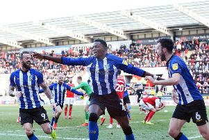 Dominic Iorfa celebrates his last-gasp equaliser