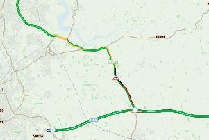 There are heavy delays on the A585 this morning