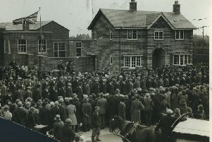 Ex-servicemen await the arrival of Earl Jellicoe, admiral of the Fleet, who opened the new St Annes Ex-Service Clubhouse in Alexandra Road, St Annes