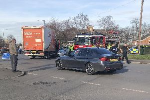 Collision between car and lorry at Cental Drive, Rossington, at 1.55pm, Thursday February 21, 2019