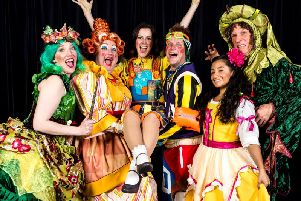 Awards glory - Harrogate Theatre panto star Harriett Hare, pictured centre, with the cast of hit family show Jack and the Beanstalk.
