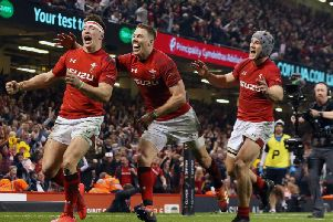Wales' Josh Adams celebrates scoring his side's clinching try (Paul Harding/PA Wire)