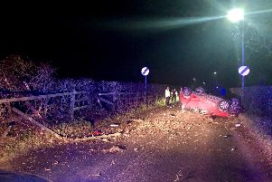 The overturned car (photo Lancs Road Police).