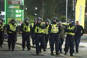 Police officers on duty ahead of a Sheffield derby last season