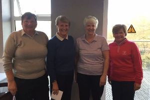 Huddersfield, Halifax Ladies Winter Alliance'From the left, winners Irene Battye and Carol Crowther with Outlane 'Lady Captains Elaine Horsfall and Lynne Knight