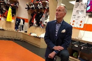Tom Barrasso,  in the locker room