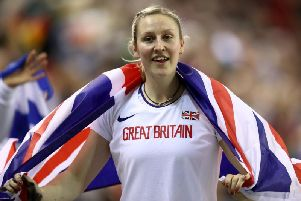 Holly Bradshaw celebrates winning silver at the European Championships' (Photo by Bryn Lennon/Getty Images)