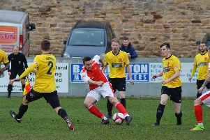Scott Ruthven gives Stocksbridge early lead at Belper. GILLIAN HANDISIDES