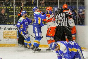 A scrap breaks out Fife v Steelers