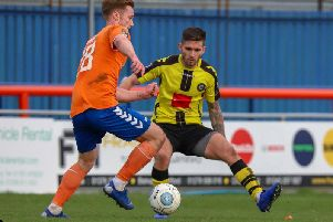 Liam Agnew made his first appearance in a Harrogate Town shirt in more than four months when he came off the substitutes' bench at Braintree. Picture: Matt Kirkham