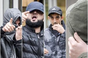 The defendants The Star was able to photograph leaving Sheffield Magistrates' Court after their first appearance. 'L-R: Saba Mohammed, accused of conspiracy to pervert the course of justice and sex offence accused: Kawan Omar Ahmed; Usman Din and Farhad Mirzaie