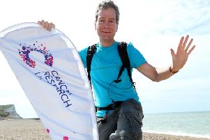 Laurence Carter is walking 3,500 miles for Cancer Research UK.