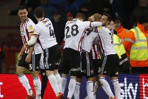 Sheffield United celebrate David McGoldrick's goal: Simon Bellis/Sportimage