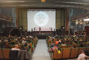 The scene from the debut show of Breed Pro Wrestling in February