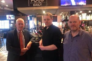 Blackpool South MP Gordon Marsden with Brett Cardwell and Craig Southall at The Manchester pub