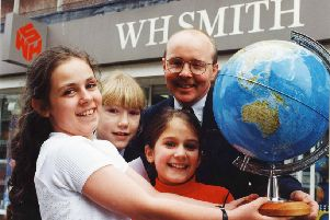 Comic Relief Red Nose Day  March 1995. Winners of a Red Nose poetry competition organised by WH Smith.  Collecting their trophies from WH Smith manager Ian Hudspith are Rachel Smith, Michelle Shotton and Clare Alaige.