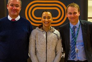 Assistant Headteacher & Head of 6th Form at Notre Dame High School, Martyn Birch (left), and the Head of Year 12, Steven Dransfield (right) with Sheffield Olympian Dame Jessica Ennis-Hill.