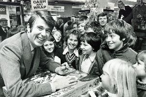 Children's TV star Leslie Crowther draws a crowd to Redgates in November 1975