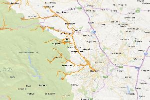This map shows the extent of the flood alert in place
