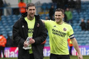 Chris Basham and Billy Sharp are all smiles after the win over Leeds