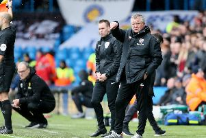 Sheffield United manager Chris Wilder and Leeds United manager Marcelo Bielsa (second left) at Elland Road: Richard Sellers/PA Wire.