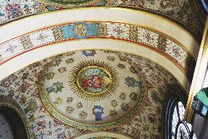 Part of the ornate ceiling in the entrance foyer of Sheffield City Hall