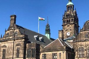The Welsh flag above Sheffield Town Hall - on St Patrick's Day. Picture courtesy of Dave Johnson via Twitter