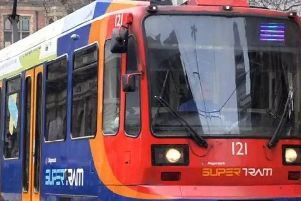 A man was struck by a tram at the Crystal Peaks stop in Sheffield yesterday