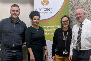 Pictured at the launch of Safenet Supporters are (from left to right) Anthony Duerden, Chief Executive of The Calico Group, Helen Gauder, SafeNet Managing Director. Alex Atkinson, SafeNet Head of Support Services. John Clough, SafeNet Patron.