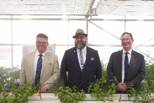 Left to right are Professor Tony Ryan from the University of Sheffield's Department of Chemisty, Professor Duncan Cameron from the University of Sheffield's Department of Animal and Plant Sciences and HE Hamish Cowell, British Ambassador to Oman. '