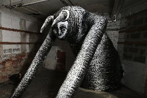 Eye Witness Works. Mausoleum of the Giants - a monumental title fitting for a new spectacular sculptural installation showcase by artist Phlegm in his hometown of Sheffield, UK.  The artist, illustrator and cartoonist, who earned worldwide recognition with his intricate, narrative-rich murals painted on carefully selected public or abandoned structures, is continuing his exploration of mediums and scales and this time hes gone big. Picture: Chris Etchells