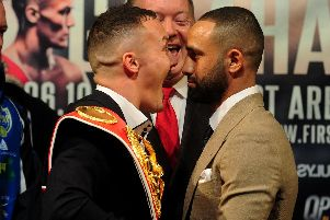 Josh Warrington and Kid Galahad go head to head at the press conference to promote their fight