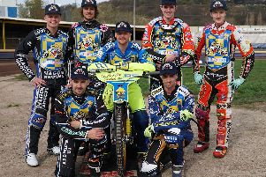 Sheffield Tigers 2019 team. Back: Broc Nicol, Zaine Kennedy, Kasper Andersen, Drew Kemp. Front: Danny King, Kyle Howarth (Captain, on bike), Ty Proctor. Picture: Andy Garner.