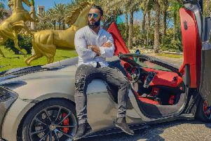 Amor founder Mujahaid Bin Jamshaid in Dubai with a McLaren after doing some work with the car manufacturer.