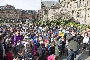 Pupils from Watercliffe Meadows gather in Sheffields Peace Gardens to protest against government cuts to education budgets