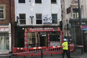 A fire broke out in a shop in Doncaster town centre this morning