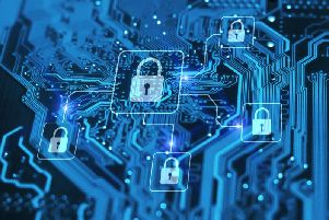 Stock image of cyber security and protection of private information and data concept