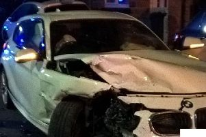 A boy, aged 16, was arrested after a stolen car crashed during a police chase in Sheffield