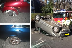 Damage to cars following crashes on Psalter Lane in Sheffield